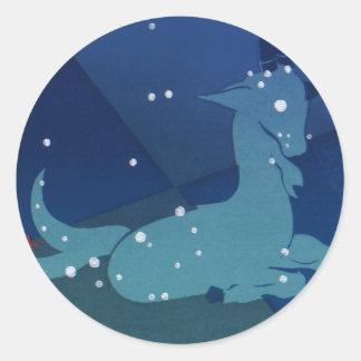 Vintage Zodiac, Astrology Capricorn Constellation Classic Round Sticker