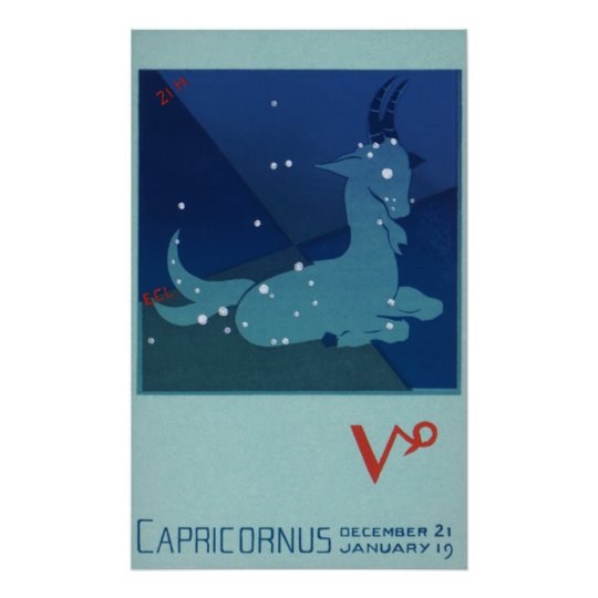 Vintage Zodiac, Astrology Capricorn Constellation Poster