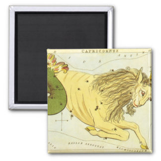 Vintage Zodiac, Astrology Capricorn Constellation Square Magnet