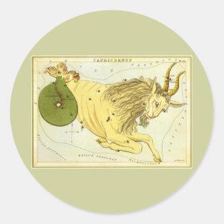 Vintage Zodiac, Astrology Capricorn Constellation Round Sticker