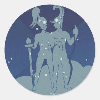 Vintage Zodiac Astrology Gemini Twin Constellation Classic Round Sticker