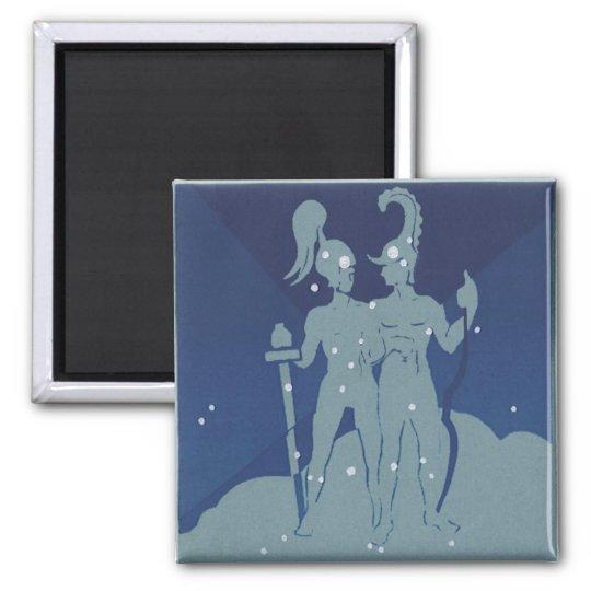 Vintage Zodiac Astrology Gemini Twin Constellation Magnet