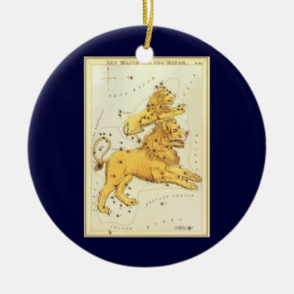 Vintage Zodiac, Astrology Leo Lion Constellation Christmas Ornament