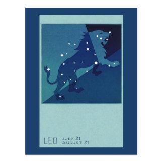 Vintage Zodiac Astrology Leo Lion Constellation Postcard
