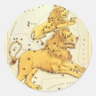 Vintage Zodiac, Astrology Leo Lion Constellation Round Stickers