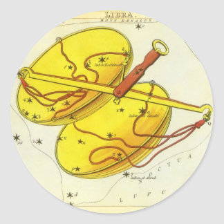Vintage Zodiac Astrology Libra Scale Constellation Classic Round Sticker