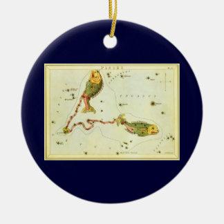 Vintage Zodiac Astrology Pisces Fish Constellation Christmas Ornament