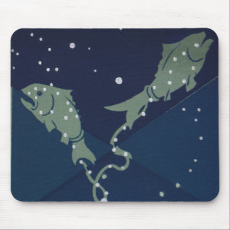 Vintage Zodiac Astrology Pisces Fish Constellation Mouse Mat