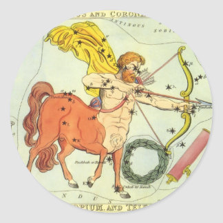 Vintage Zodiac Astrology Sagittarius Constellation Classic Round Sticker