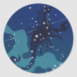 Vintage Zodiac, Astrology, Scorpio Constellation Round Sticker