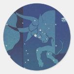 Vintage Zodiac, Astrology, Taurus Constellation Classic Round Sticker