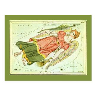 Vintage Zodiac Astrology Virgo Constellation Postcard