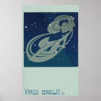 Vintage Zodiac Astrology, Virgo Constellation Poster