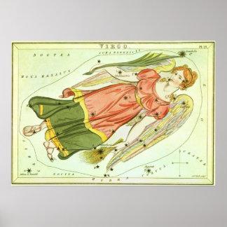 Vintage Zodiac Astrology Virgo Constellation Poster