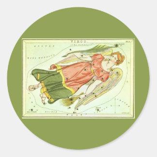 Vintage Zodiac Astrology Virgo Constellation Round Sticker
