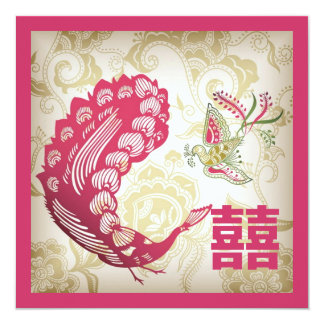 VintageFuchsia  Phoenix Chinese Wedding Invitation