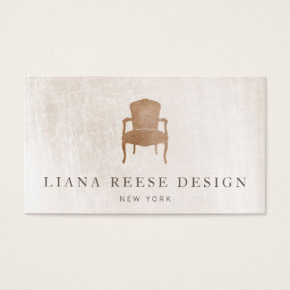Vintgage French Chair Brushed Ivory Marble Business Card