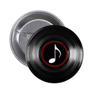 vinyl and musical note 6 cm round badge