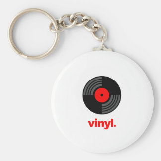 Vinyl Basic Round Button Key Ring