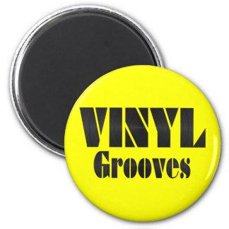 Vinyl Grooves 6 Cm Round Magnet
