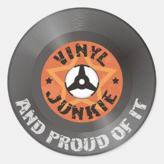 Vinyl Junkie - And Proud of It Round Sticker