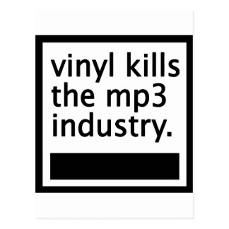 vinyl kills the mp3 industry - vintage postcard