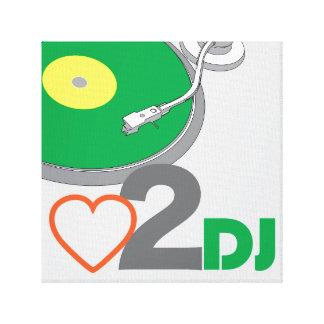 Vinyl love to DJ Turntable SL1210 club disc Jockey Stretched Canvas Print