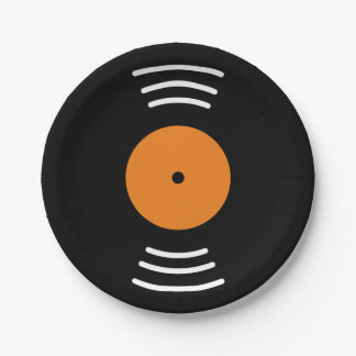 Vinyl music record novelty paper plates for party