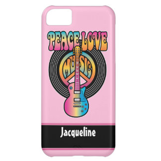 Vinyl Peace Love Music Cover For iPhone 5C