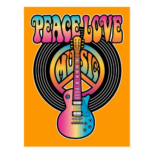 Vinyl Peace Love Music Postcard