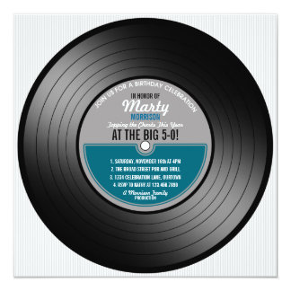Vinyl Record 50th Birthday Party Invitation