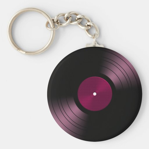 Vinyl Record Album in Pink Key Chains