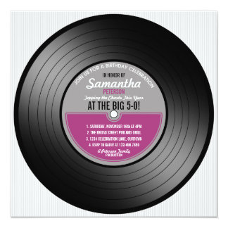 Vinyl Record Birthday 50th Party Invitation