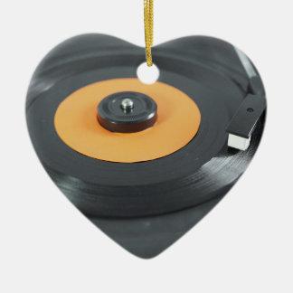 Vinyl record ceramic heart decoration