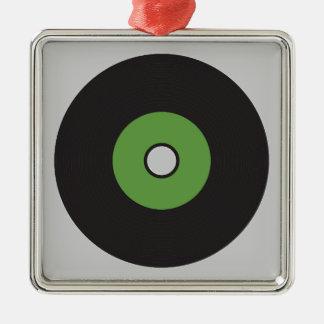 Vinyl Record Green Black and Grey Silver-Colored Square Decoration