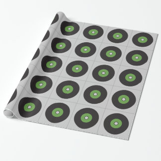 Vinyl Record Green Black and Grey Wrapping Paper