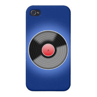 Vinyl Record on Blue iPhone 4 Case