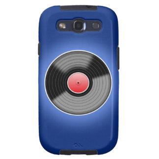 Vinyl Record on Blue Phone Case Samsung Galaxy S3 Covers