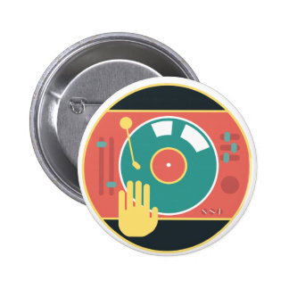 Vinyl-record-player-hand-scratch 6 Cm Round Badge