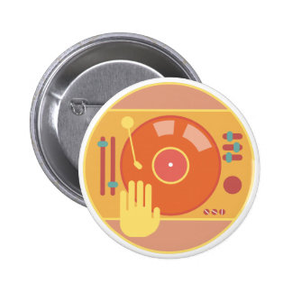 Vinyl-record-player-hand-scratch-light 6 Cm Round Badge