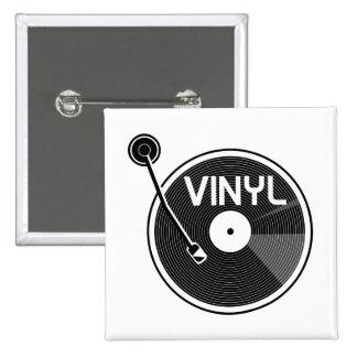 Vinyl Record Turntable Black and White 15 Cm Square Badge