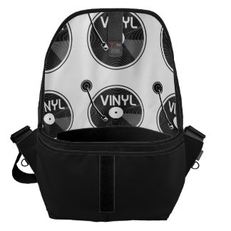 Vinyl Record Turntable Black and White Commuter Bags
