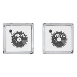 Vinyl Record Turntable Silver Finish Cufflinks