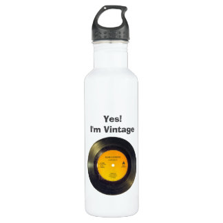 Vinyl Record Vintage Edit Text-Song 710 Ml Water Bottle