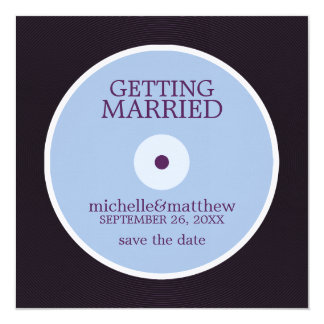 Vinyl Record Wedding Save the Date 13 Cm X 13 Cm Square Invitation Card