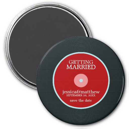 Vinyl Record Wedding Save the Date Fridge Magnets