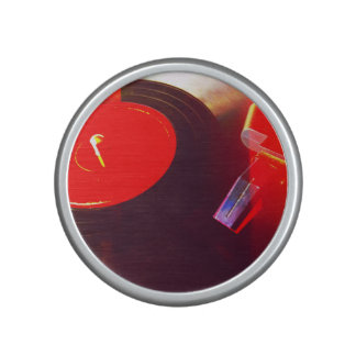 Vinyl record with red light leaks bluetooth speaker