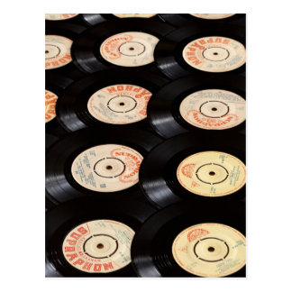 Vinyl Records Background Postcard