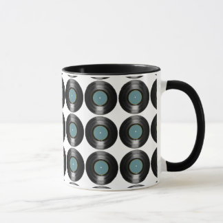 vinyl records pattern mug