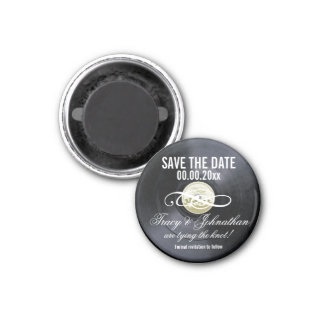 Vinyl save the date PERSONALIZE 3 Cm Round Magnet
